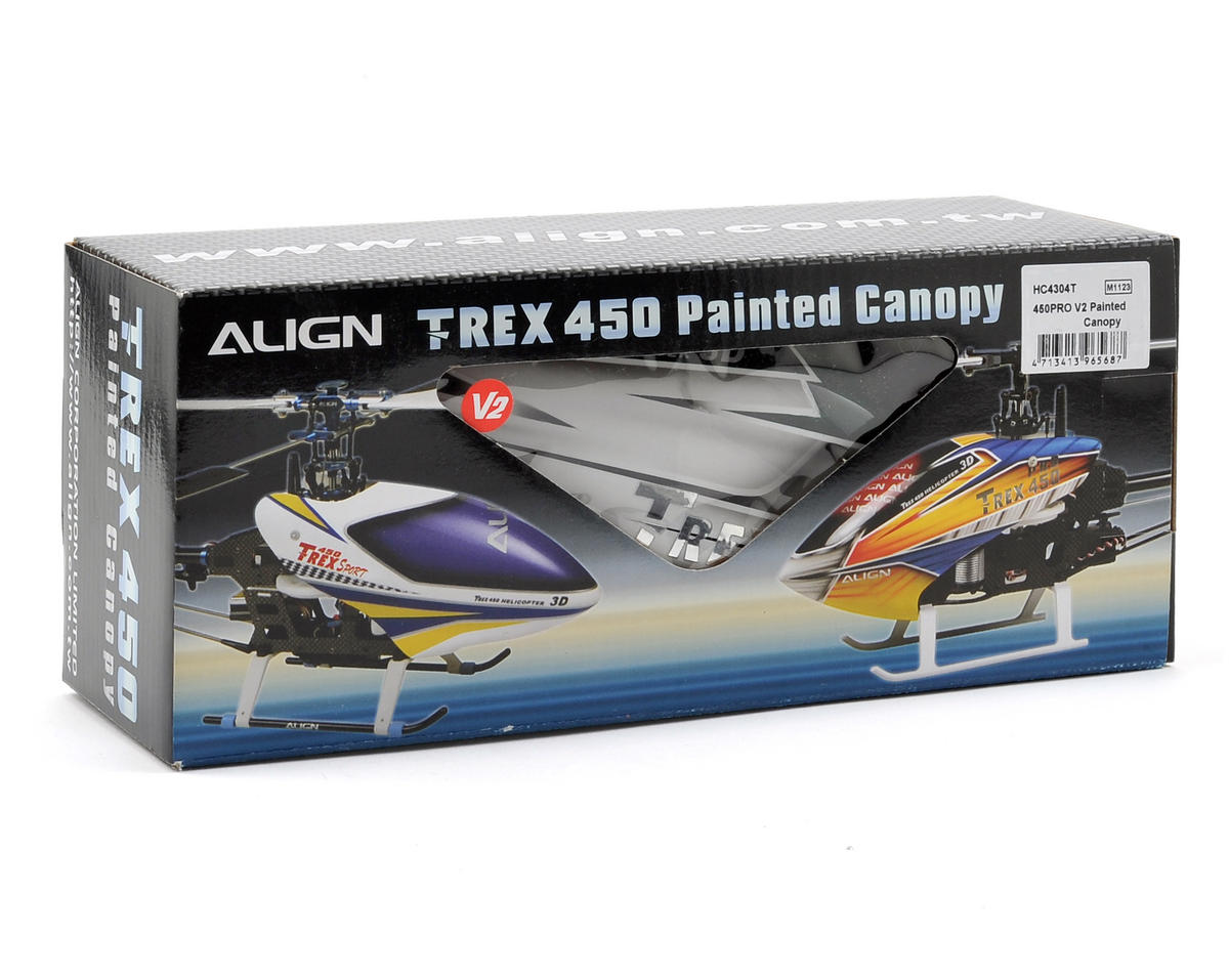 Align 450 Pro V2 Painted Canopy (Silver/Green)