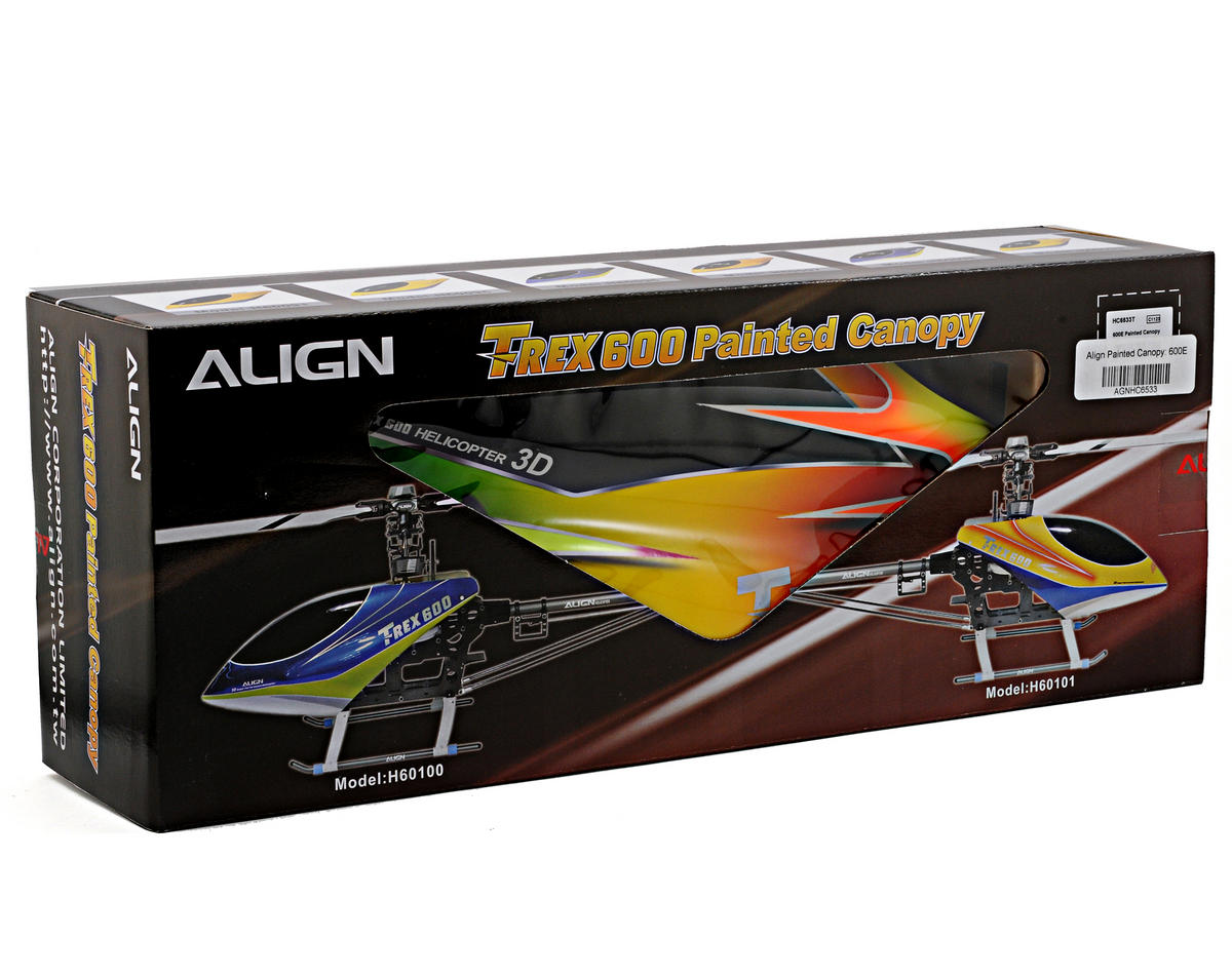 Align 600E Painted Canopy (Yellow/Orange/Green)