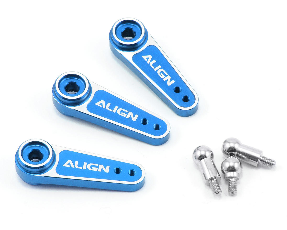 Align T-Rex 600E D6FF Metal Servo Horn Set (Blue) (3) (25T)