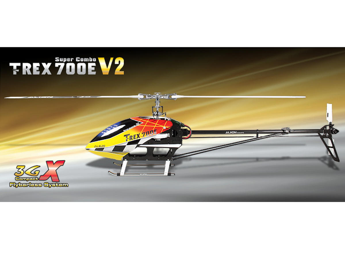 Align T-Rex 700E V2 3GX Flybarless Helicopter Super Combo Kit w/Motor, 4 Servos & CF Blades