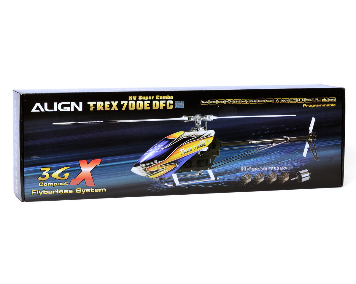 Align T-REX 700E DFC HV Flybarless Super Combo Kit w/Motor, ESC, Gyro, 4 Servos & CF Blades