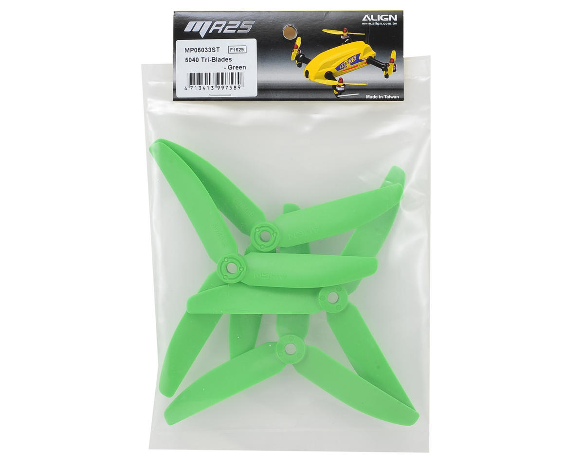 Align 5040 5 Inch Tri-Blade Propeller (Green) (2CW & 2CCW)
