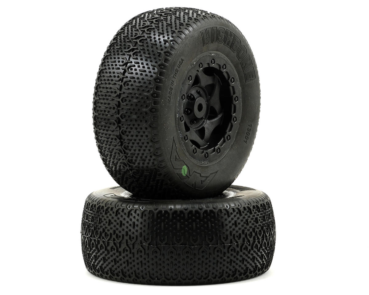 AKA Wishbone Short Course Pre-Mounted Tires (SC10 Rear) (2) (Black)