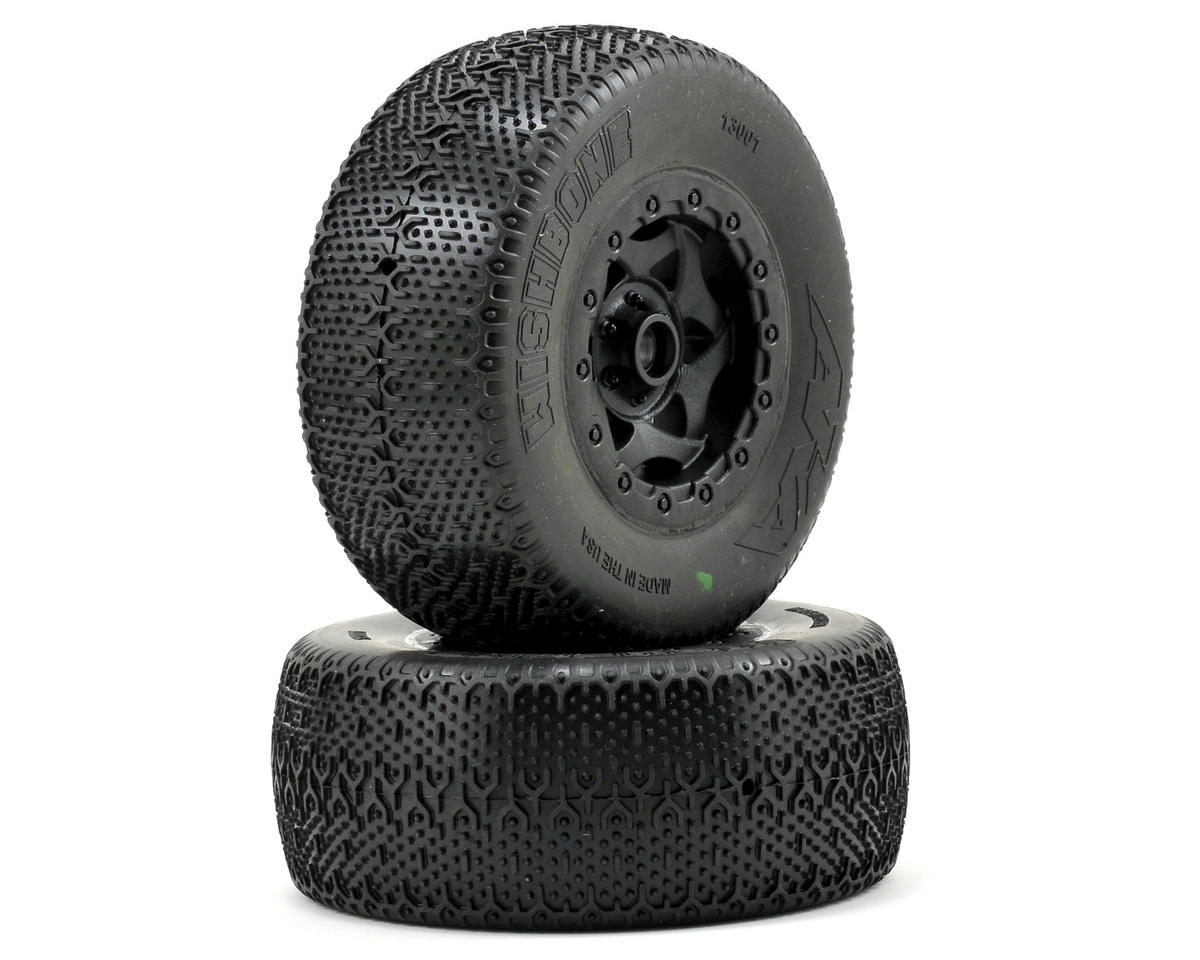 AKA Wishbone Short Course Pre-Mounted Tires (SC10 Front) (2) (Black)
