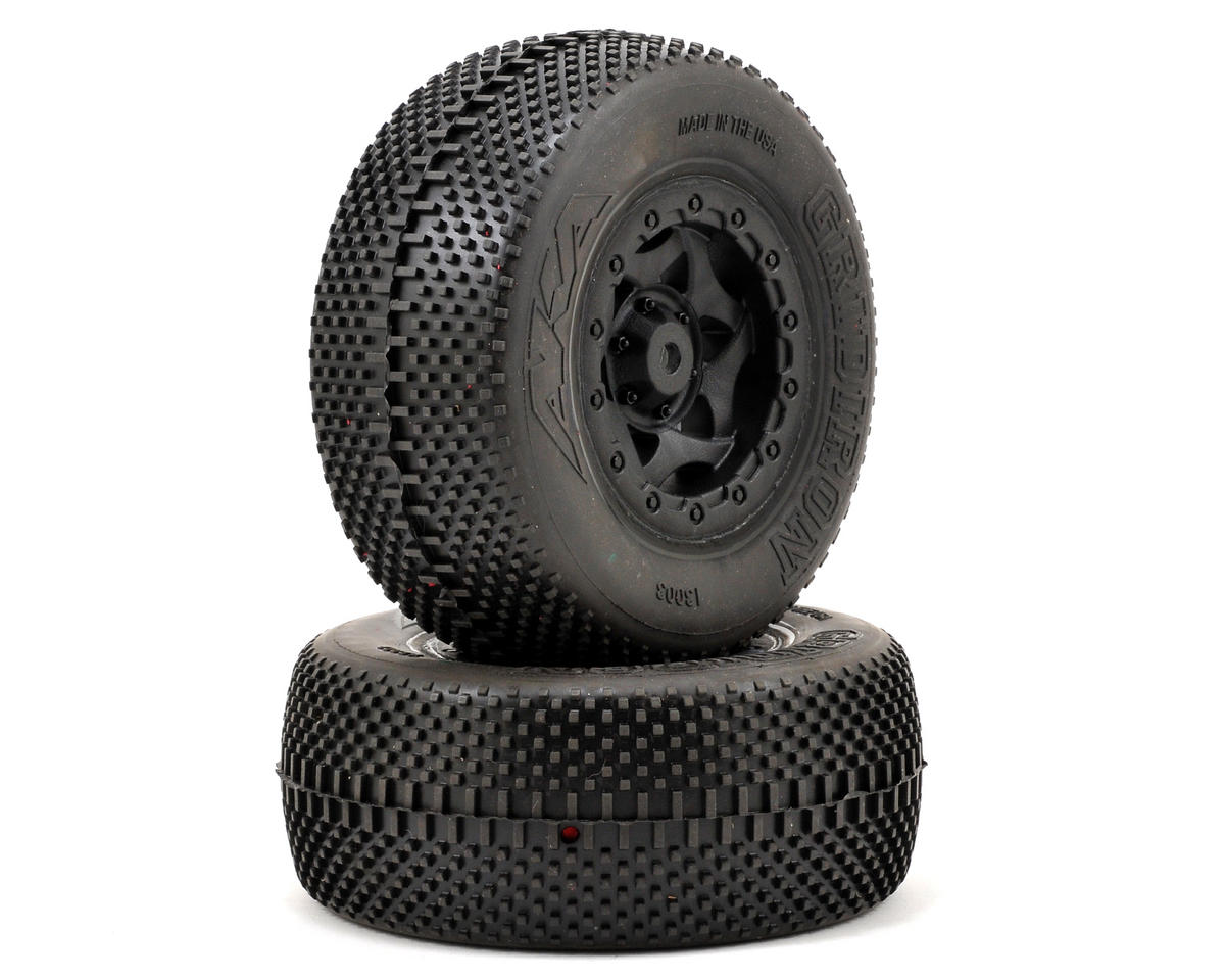 AKA Gridiron SC Pre-Mounted Tires (TEN-SCTE) (2) (Black) (Losi 22SCT)