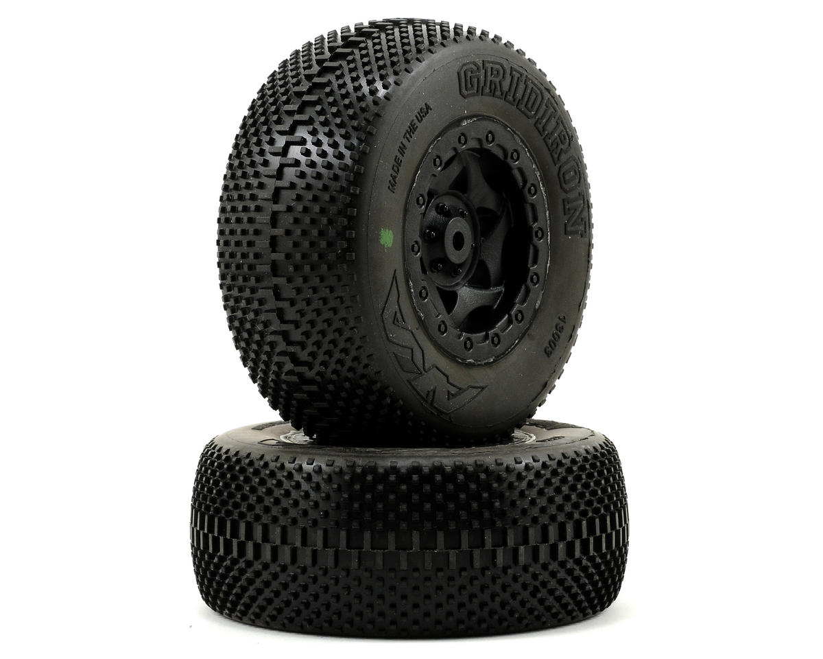 AKA Gridiron SC Pre-Mounted Tires (SC10 Rear) (2) (Black)