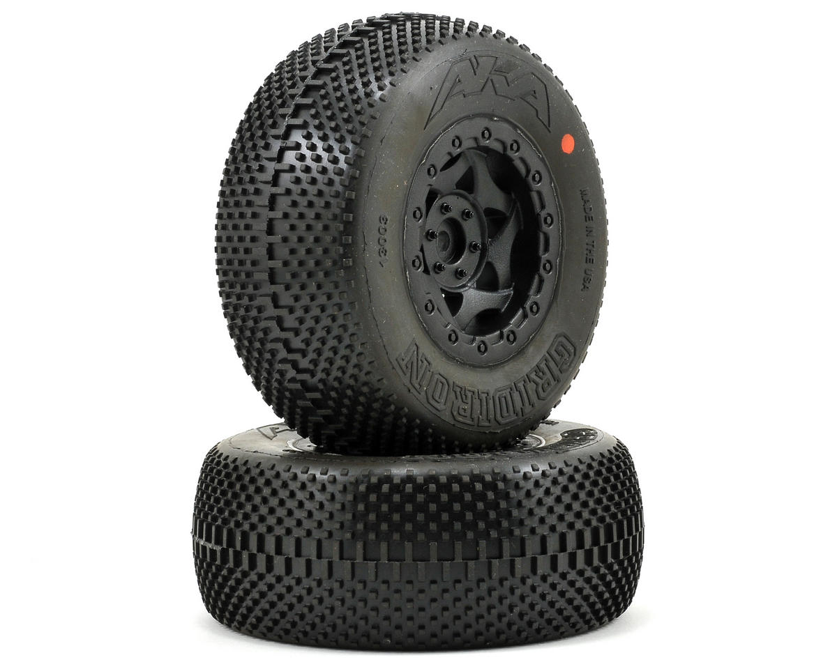 AKA Gridiron SC Pre-Mounted Tires (SC6/Slash/Blitz) (2) (Black) (Super Soft)