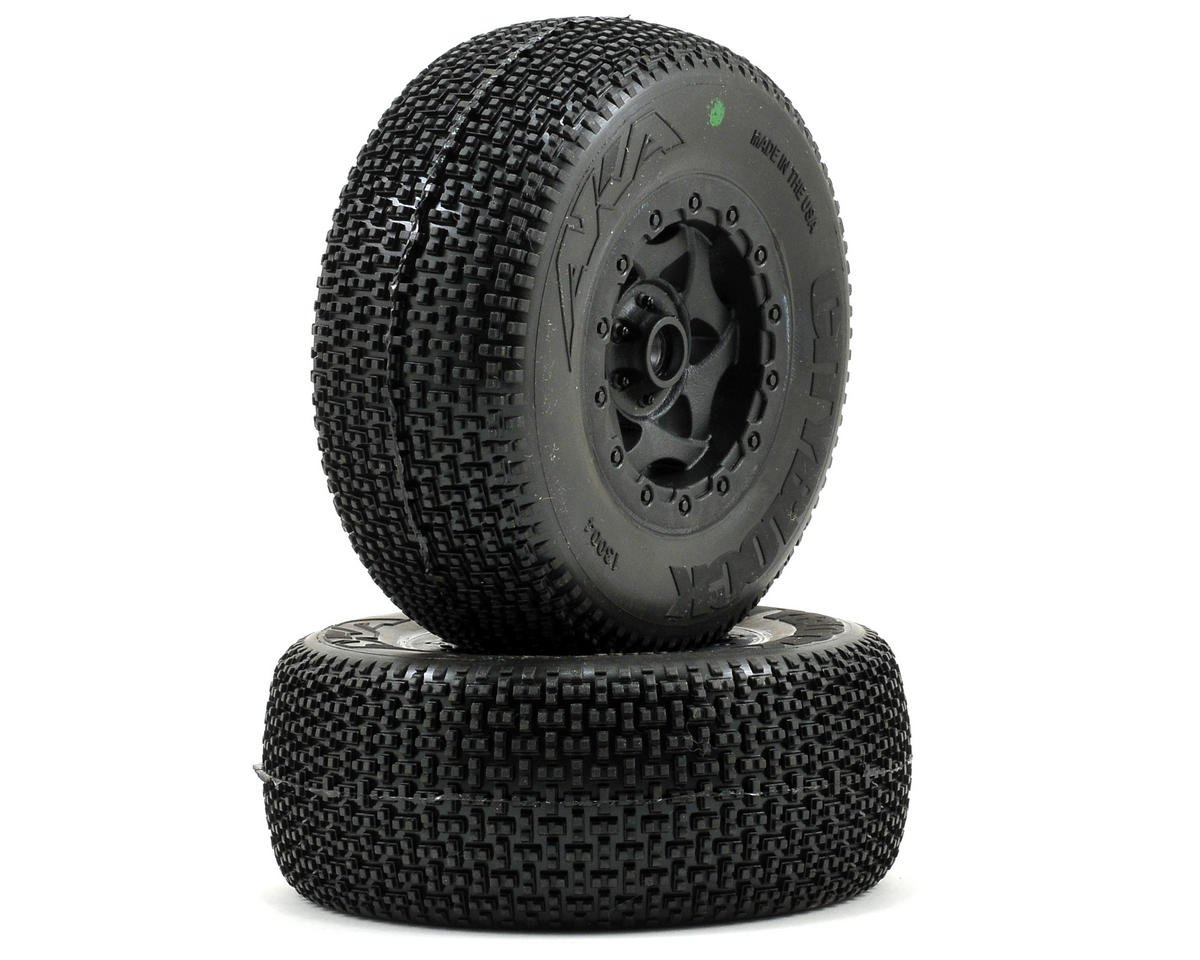 AKA Cityblock SC Pre-Mounted Tires (SC10 Front) (2) (Black)