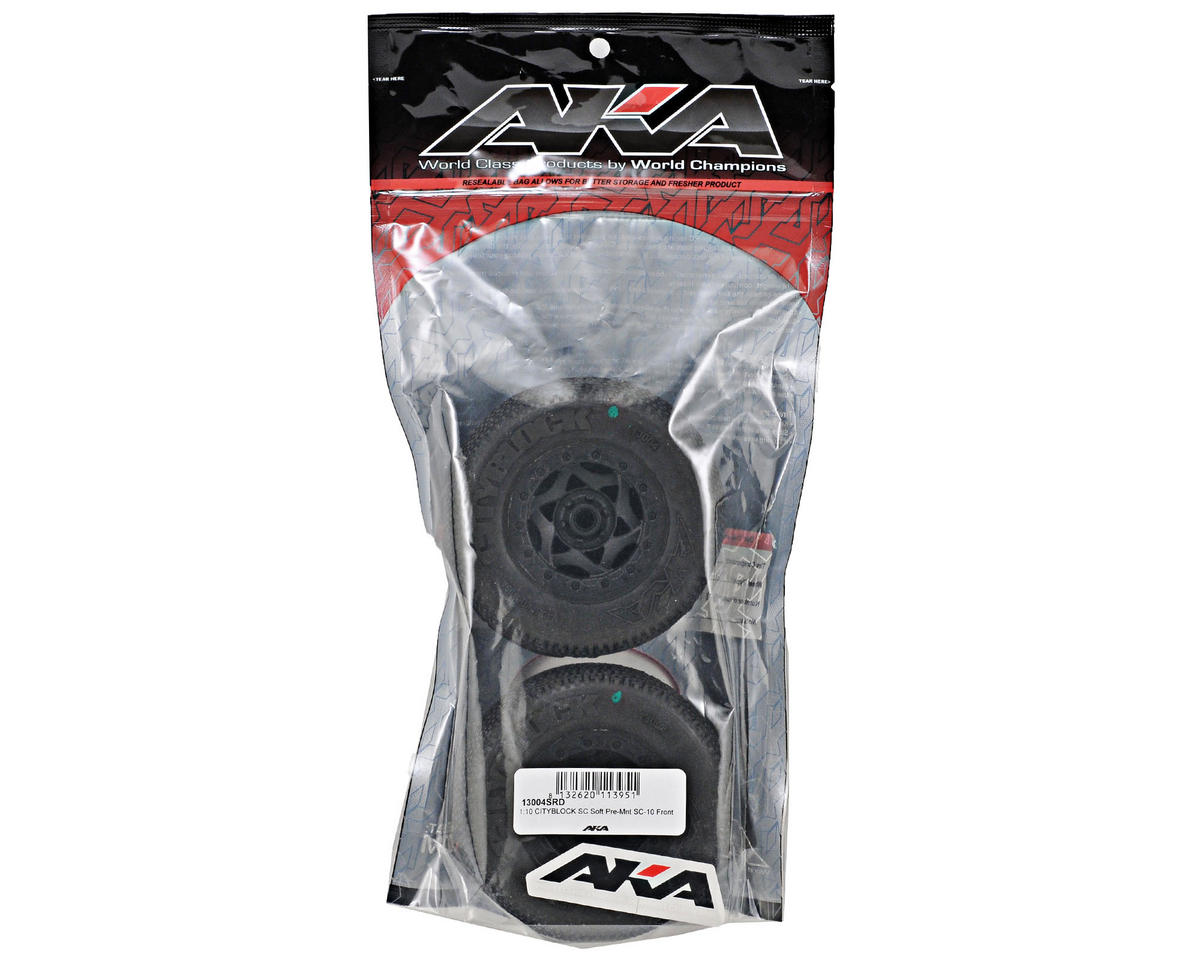 AKA Cityblock SC Pre-Mounted Tires (SC10 Front) (2) (Black) (Soft)