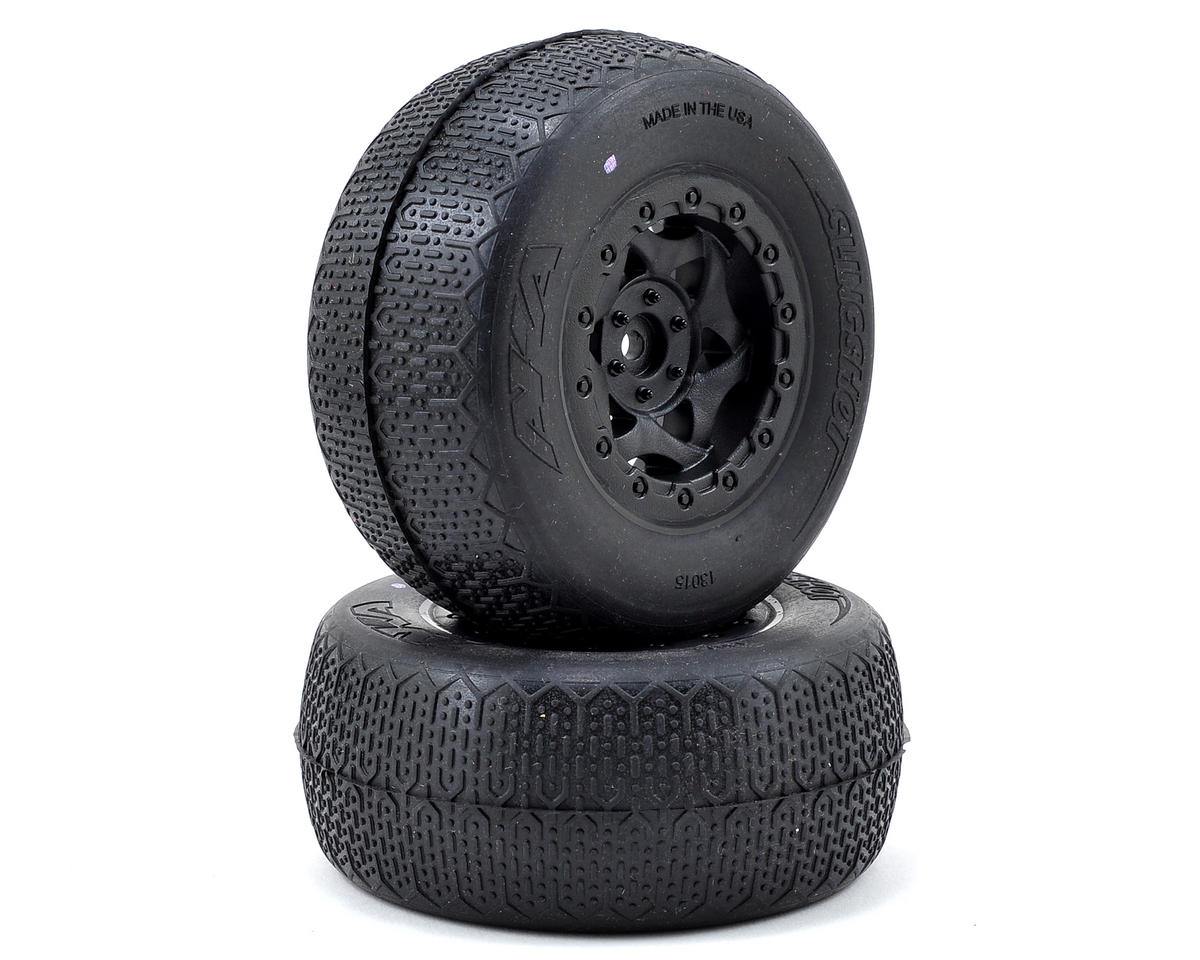 AKA Typo Wide SC Pre-Mounted Tires (SC6/Slash/Blitz) (2) (Black) (Traxxas Slash 4x4)