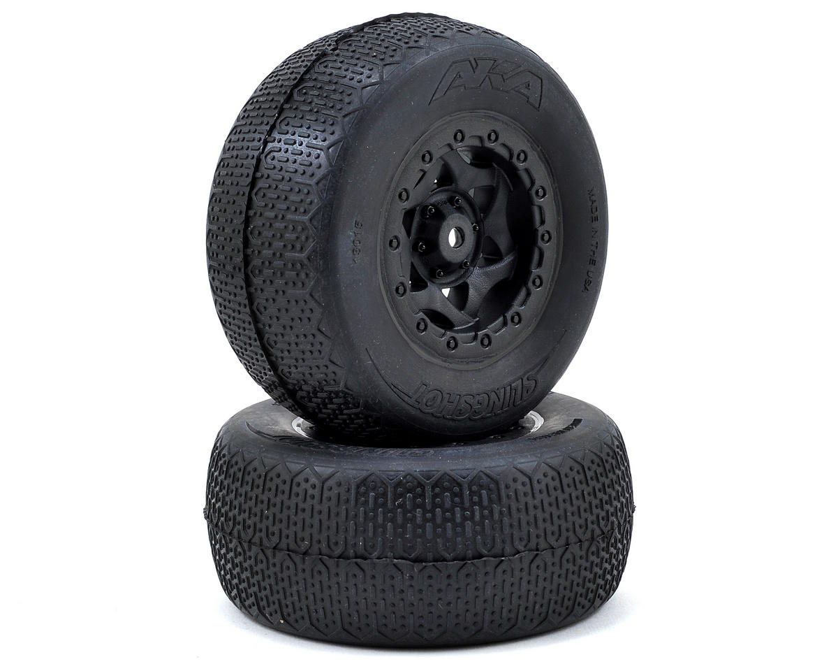 AKA Typo Wide SC Pre-Mounted Tires (SC5M) (2) (Black) (Team Associated SC10 4x4)