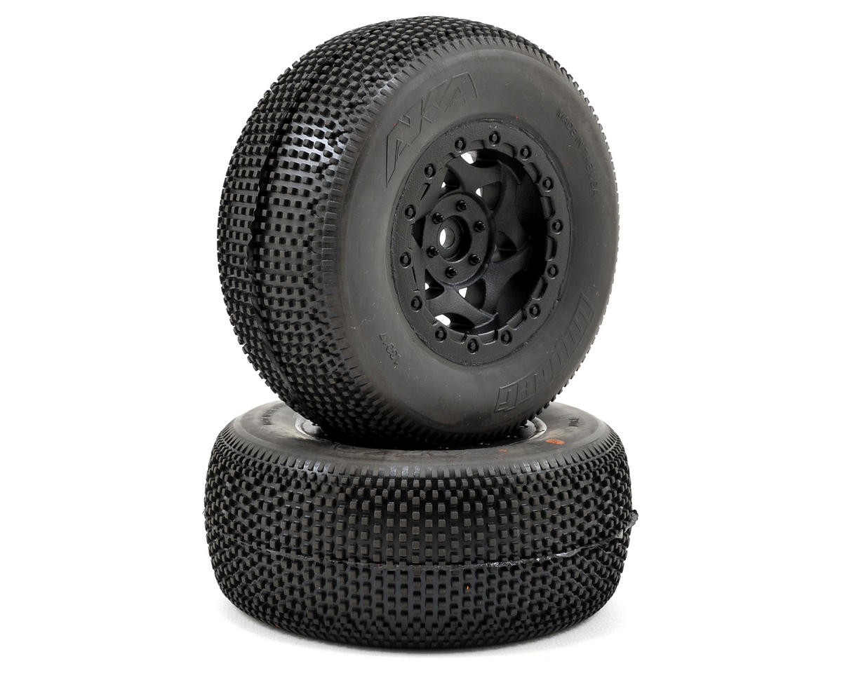 AKA Impact Wide SC Pre-Mounted Tires (Slash Rear) (2) (Black) (Traxxas Slash 4x4 Ultimate)