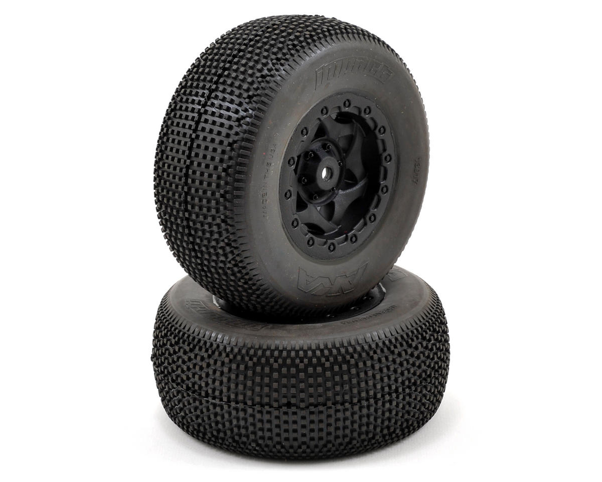 AKA Impact Wide SC Pre-Mounted Tires (SC5M) (2) (Black) (Team Associated SC10 4x4)
