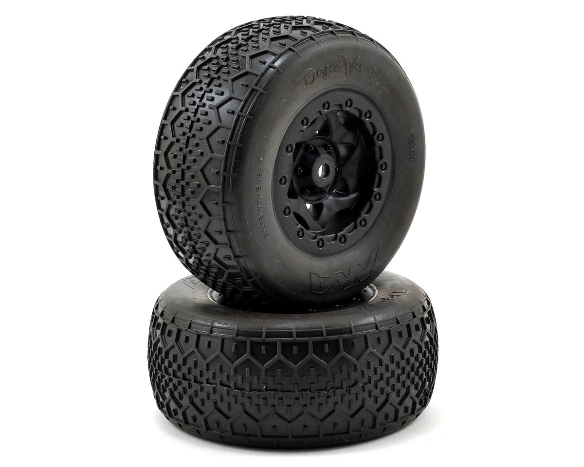 AKA Deja Vu Wide SC Pre-Mounted Tires (SC5M) (2) (Black) (Team Associated SC10 4x4)