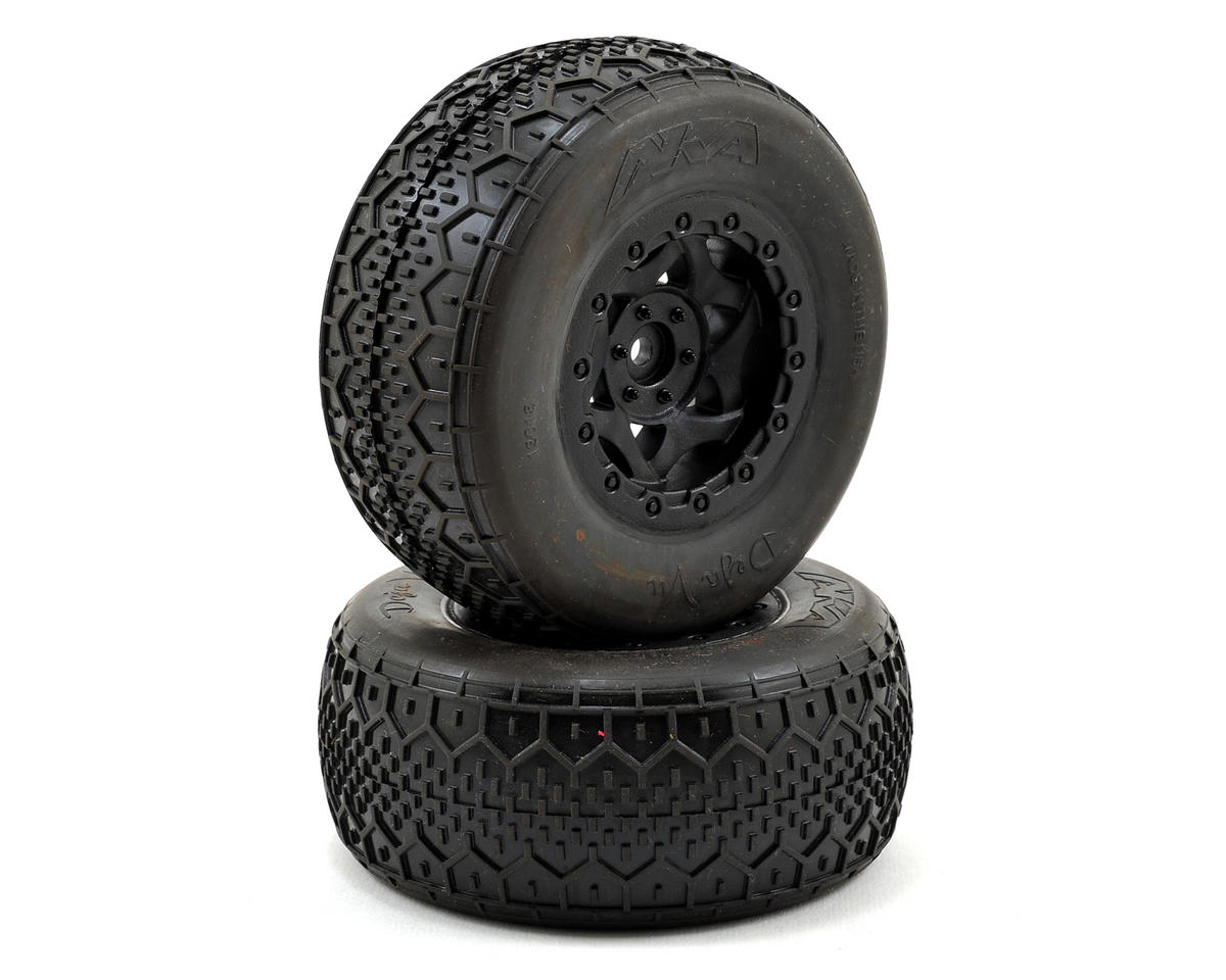 AKA Deja Vu Wide SC Pre-Mounted Tires (Slash Rear) (2) (Black) (Soft)