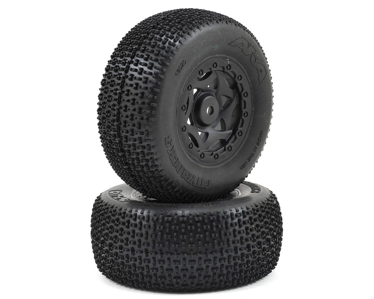 AKA Cityblock 3 Wide SC Pre-Mounted Tires (Losi TEN-SCTE) (2) (Black)