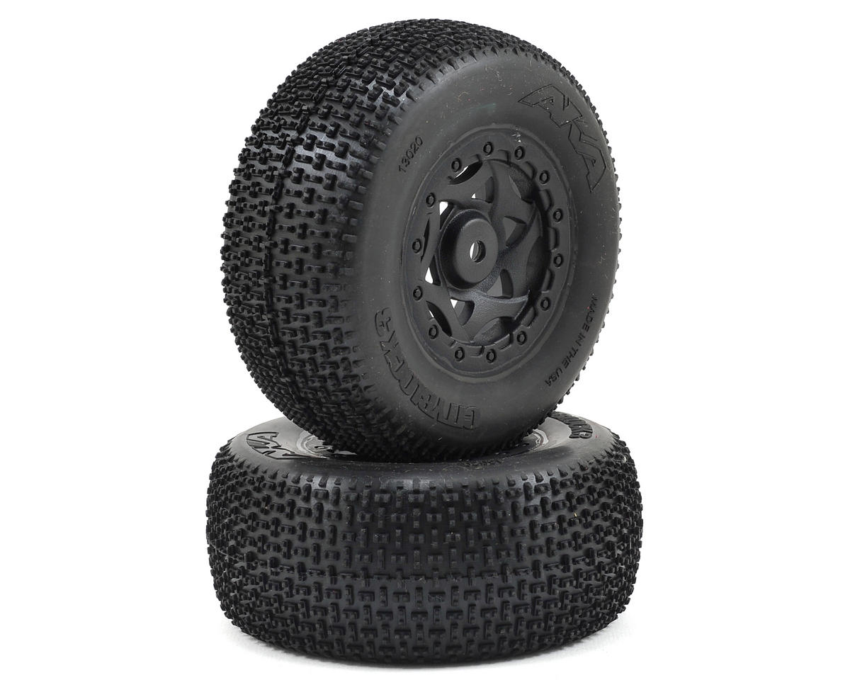AKA Cityblock 3 Wide SC Pre-Mounted Tires (TEN-SCTE) (2) (Black) (Losi TEN-SCT Nitro)