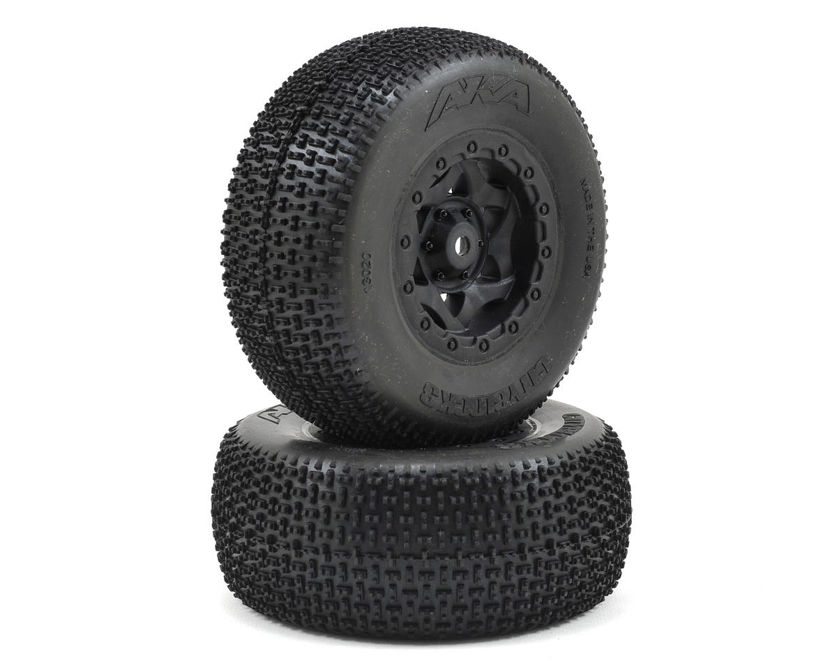 AKA Cityblock 3 Wide SC Pre-Mounted Tires (SC5M) (2) (Black) (Team Associated SC10 4x4)