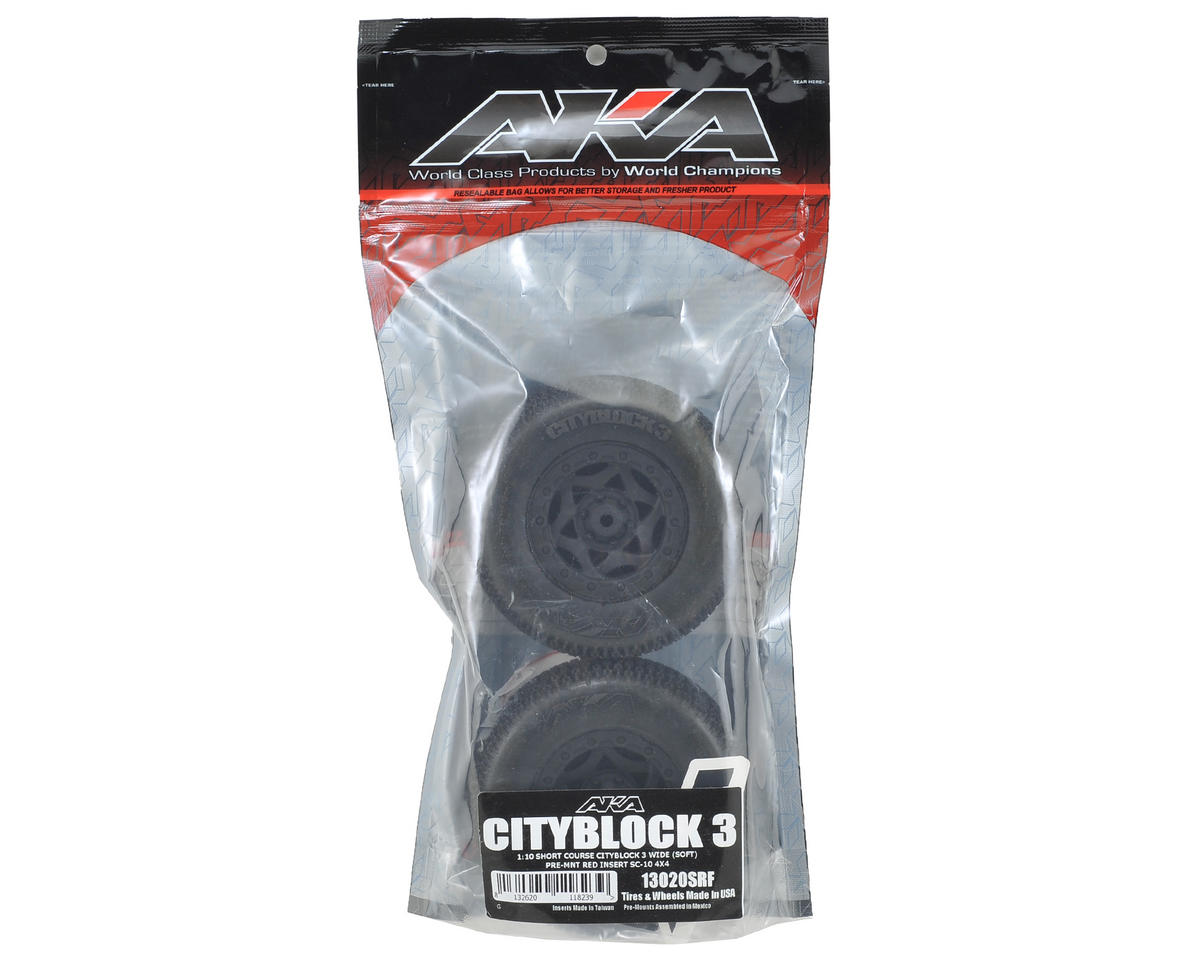 AKA Cityblock 3 Wide SC Pre-Mounted Tires (SC5M) (2) (Black) (Soft)