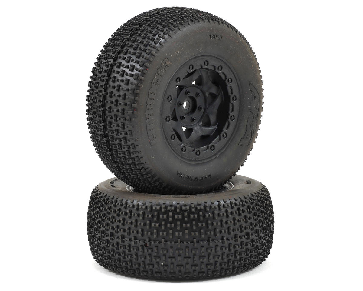 AKA Cityblock 3 Wide SC Pre-Mounted Tires (SC6/Slash) (2) (Black) (Traxxas Slash 4x4 Ultimate)