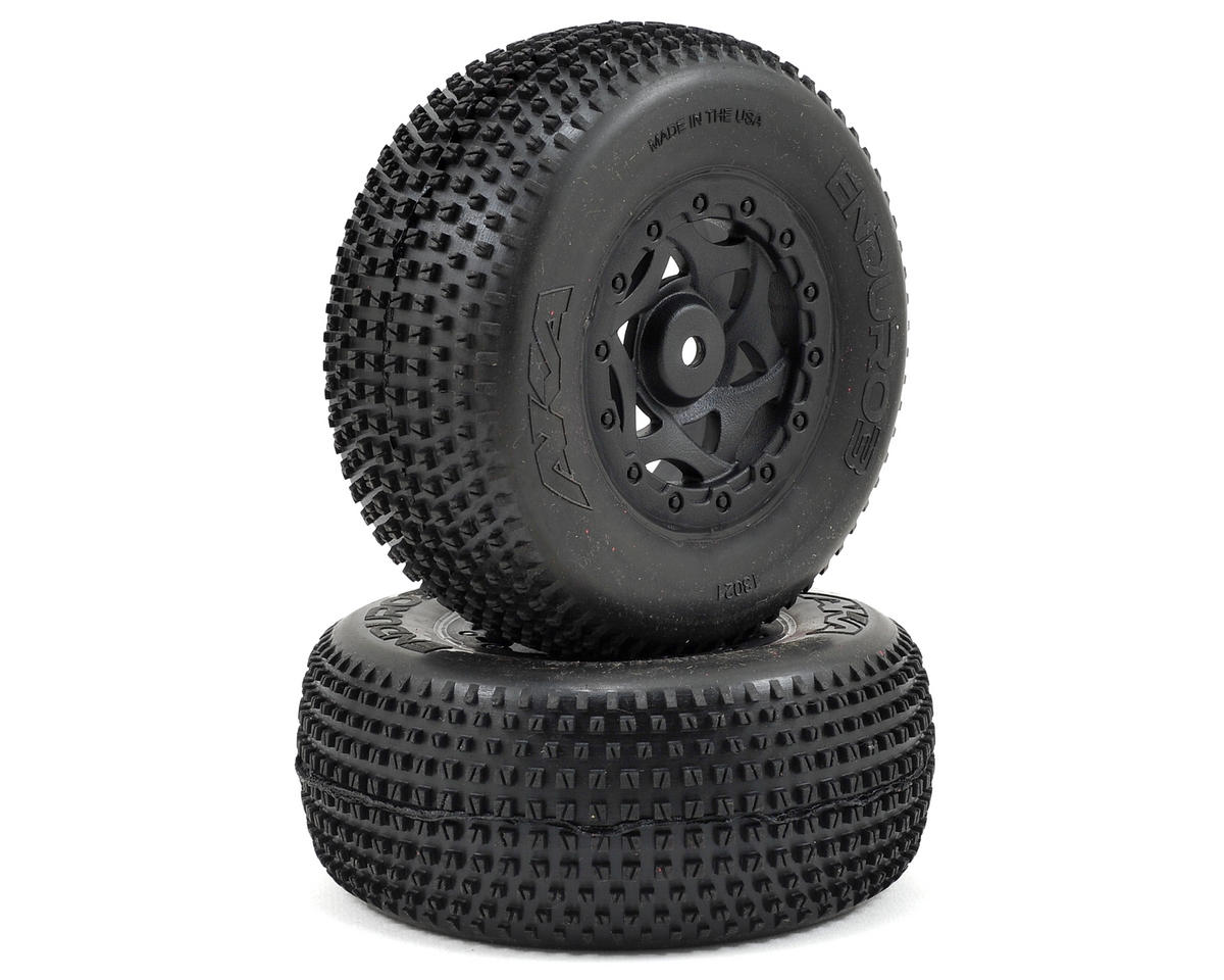 AKA Enduro 3 Wide SC Pre-Mounted Tires (TEN-SCTE) (2) (Black) (Tekno RC SCT410)