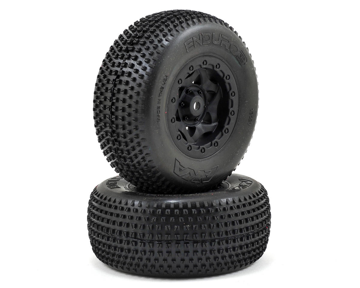 AKA Enduro 3 Wide SC Pre-Mounted Tires (SC5M) (2) (Black) (Team Associated RC10 SC5M)