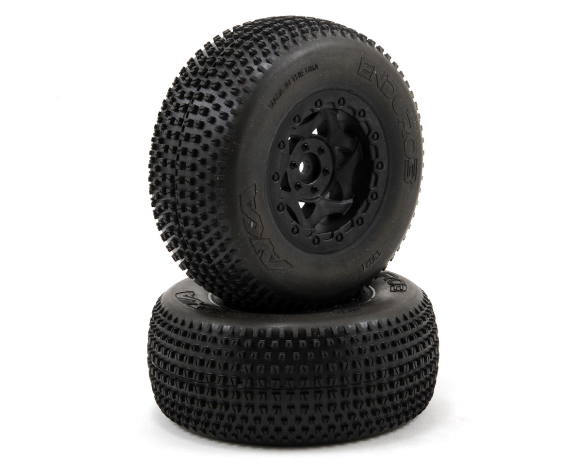 AKA Enduro 3 Wide SC Pre-Mounted Tires (SC6/Slash) (2) (Black) (Traxxas Slash 4x4 Ultimate)