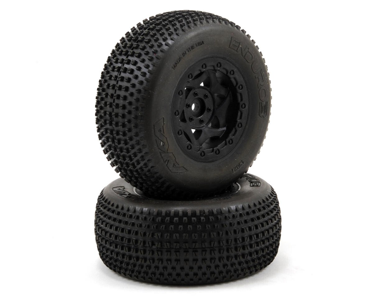 AKA Enduro 3 Wide SC Pre-Mounted Tires (SC6/Traxxas Slash) (2) (Black)