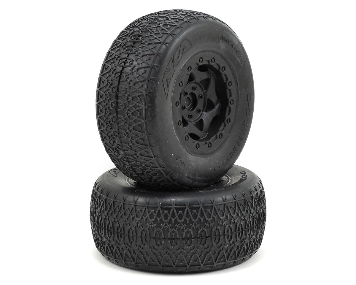 AKA Chain Link Wide SC Pre-Mounted Tires (SC6/Slash) (2) (Black) (Traxxas Slash 4x4 Ultimate)