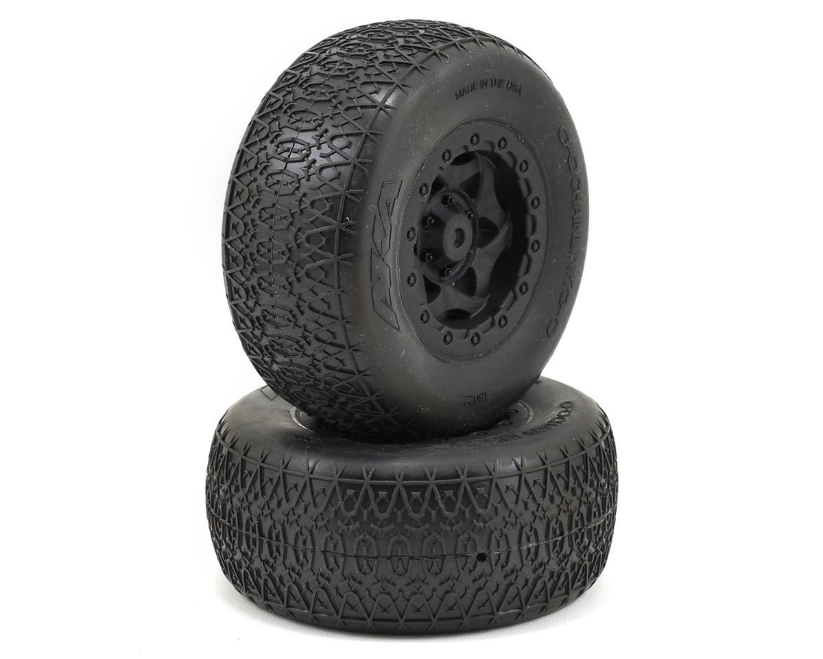 AKA Chain Link Wide SC Pre-Mounted Tires (SC5M) (2) (Black) (Team Associated SC10 4x4)