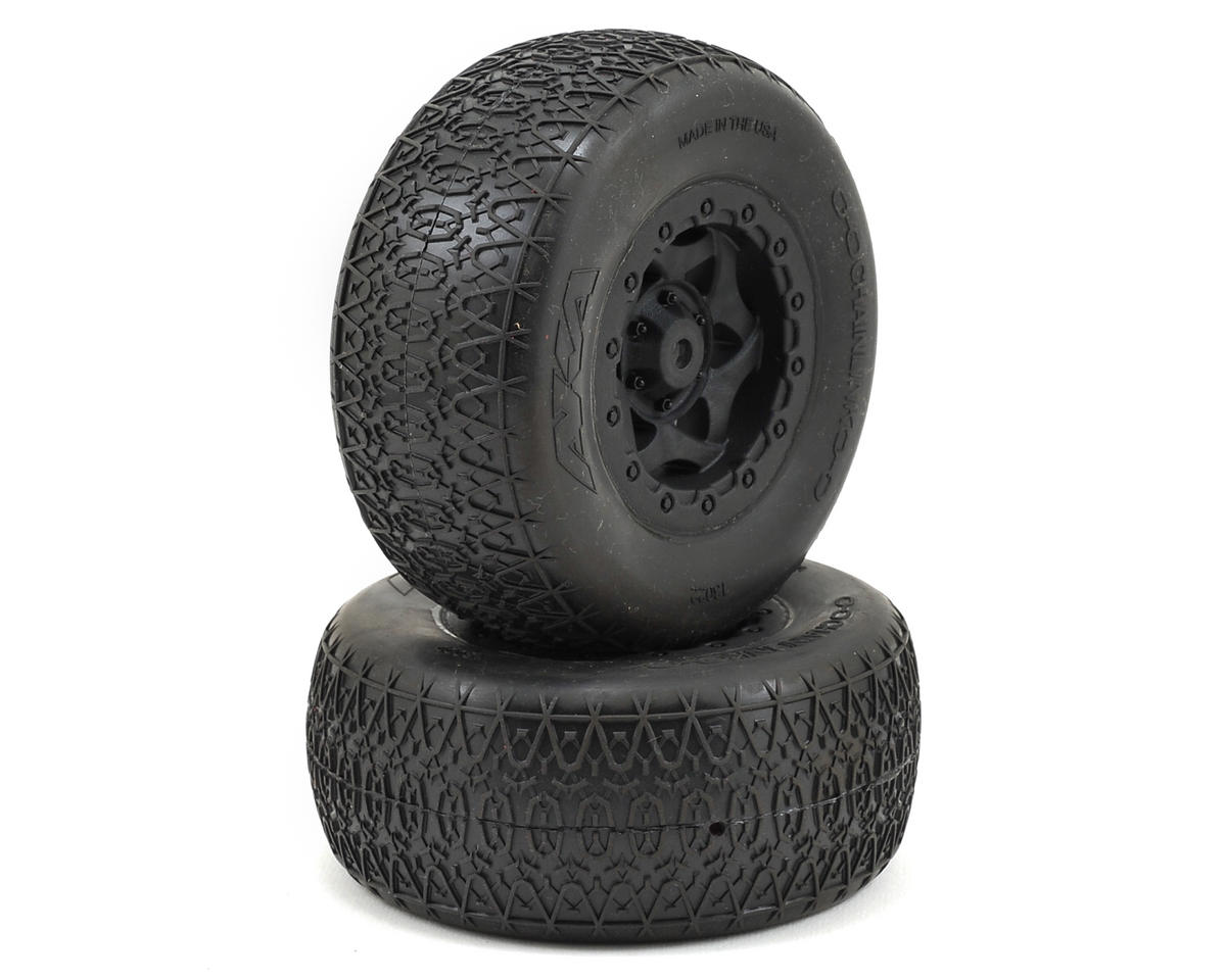 AKA Chain Link Wide SC Pre-Mounted Tires (SC5M) (2) (Black) (Team Associated ProSC 4x4)