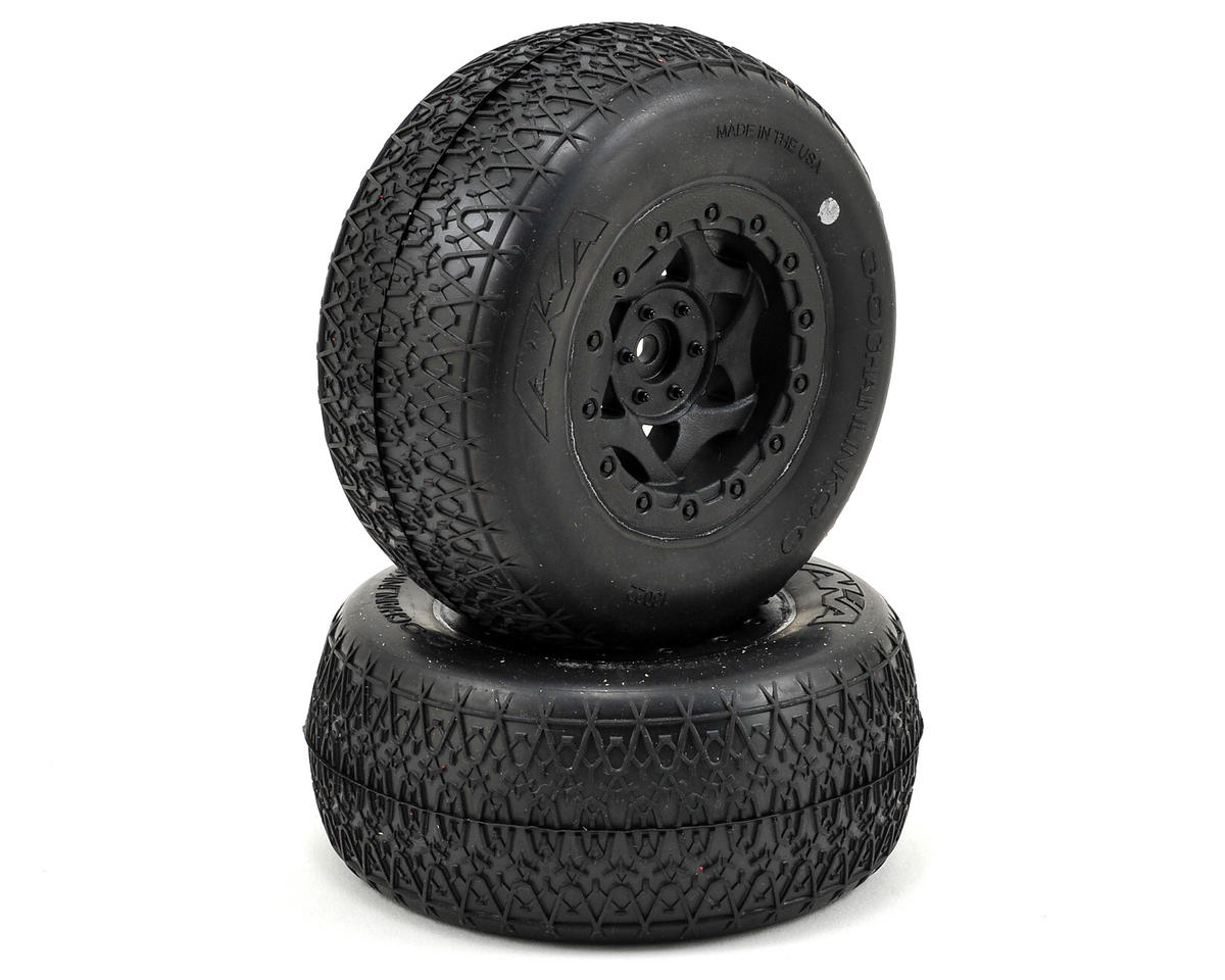AKA Chain Link Wide SC Pre-Mounted Tires (SC6/Slash) (2) (Black) (Ultra Soft)