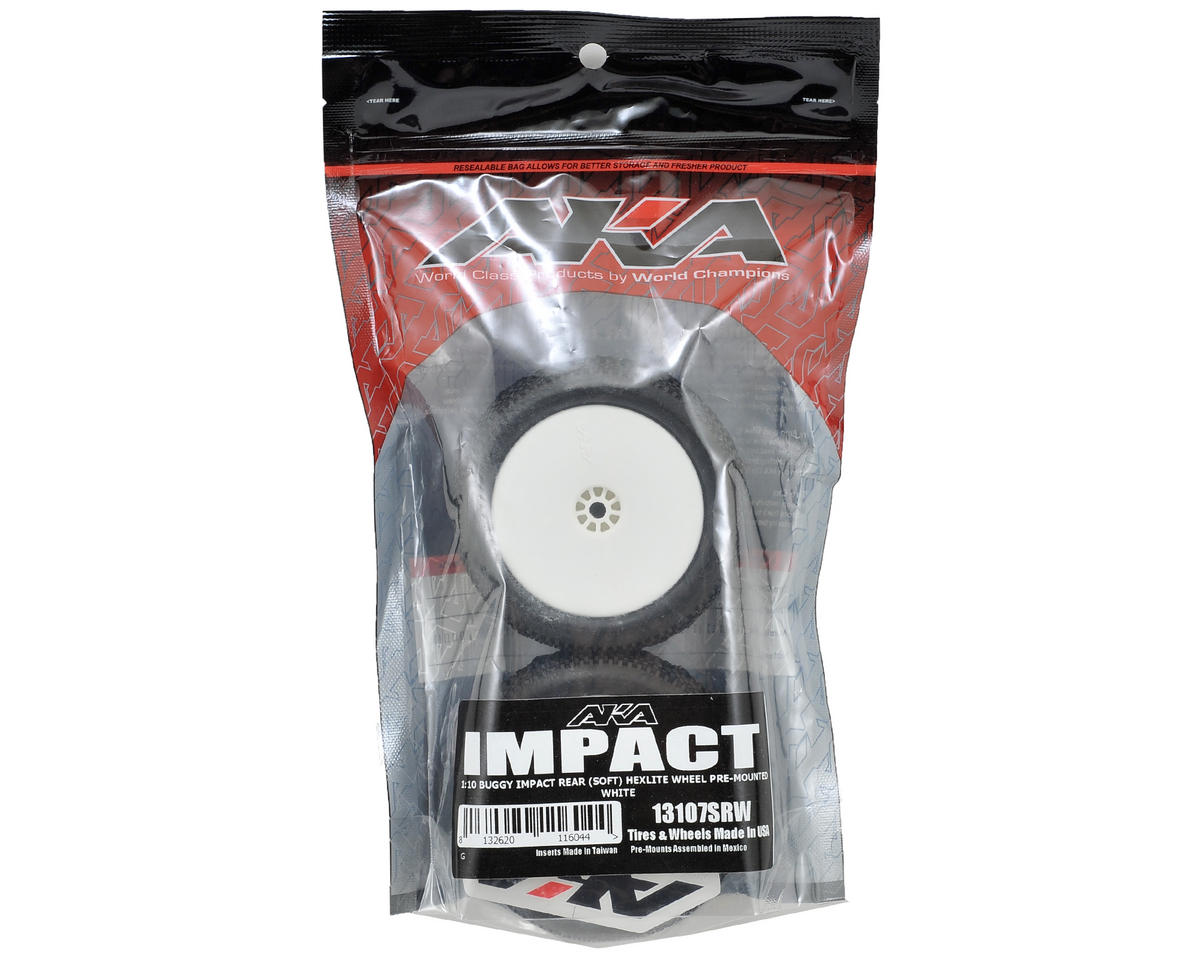 "AKA Impact 2.2"" Rear Buggy Pre-Mounted Tires (2) (White) (Soft)"