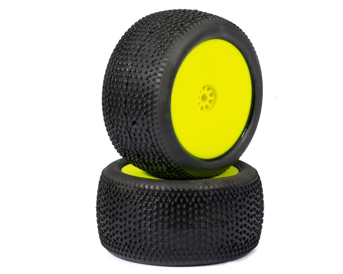 "AKA Impact 2.2"" Rear Buggy Pre-Mounted Tires (2) (Yellow) (Super Soft)"