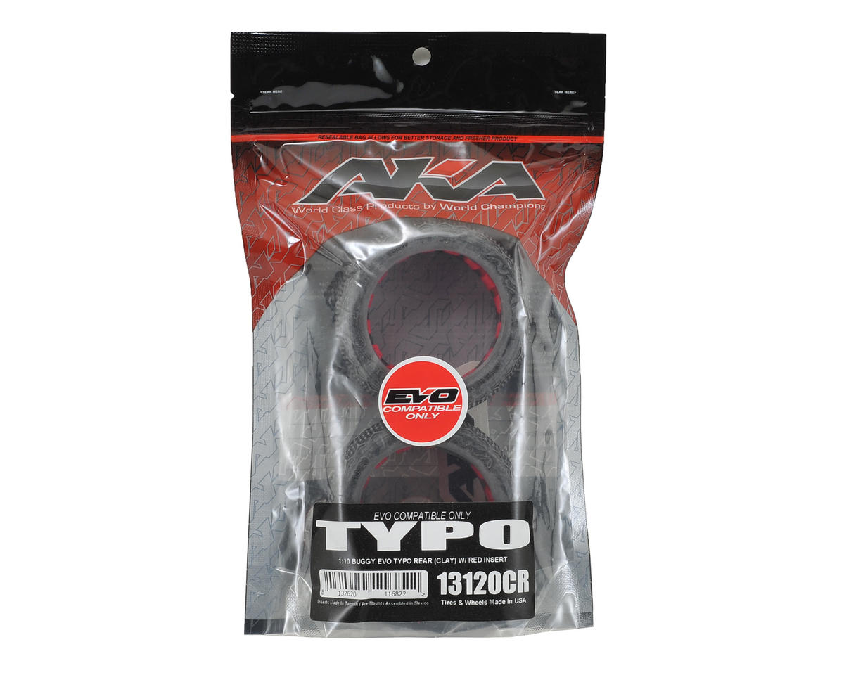"AKA ""EVO"" Typo Rear Buggy Tires (2) (Clay)"