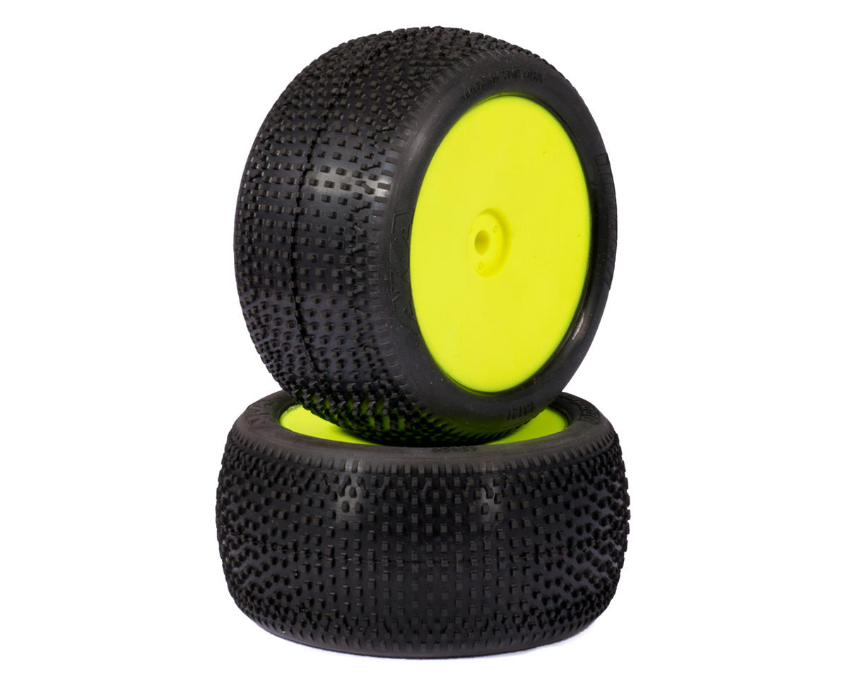 "AKA ""EVO"" Impact 2.4"" Rear Buggy Pre-Mounted Tires (2) (Yellow) (Soft)"