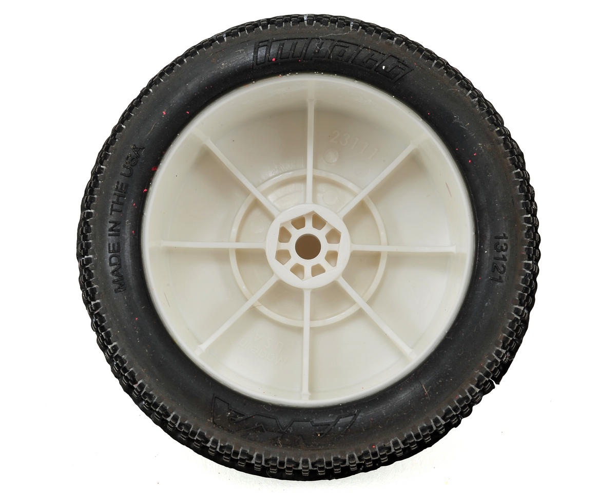 "AKA ""EVO"" Impact 2.4"" Rear Buggy Pre-Mounted Tires (2) (White) (Super Soft)"