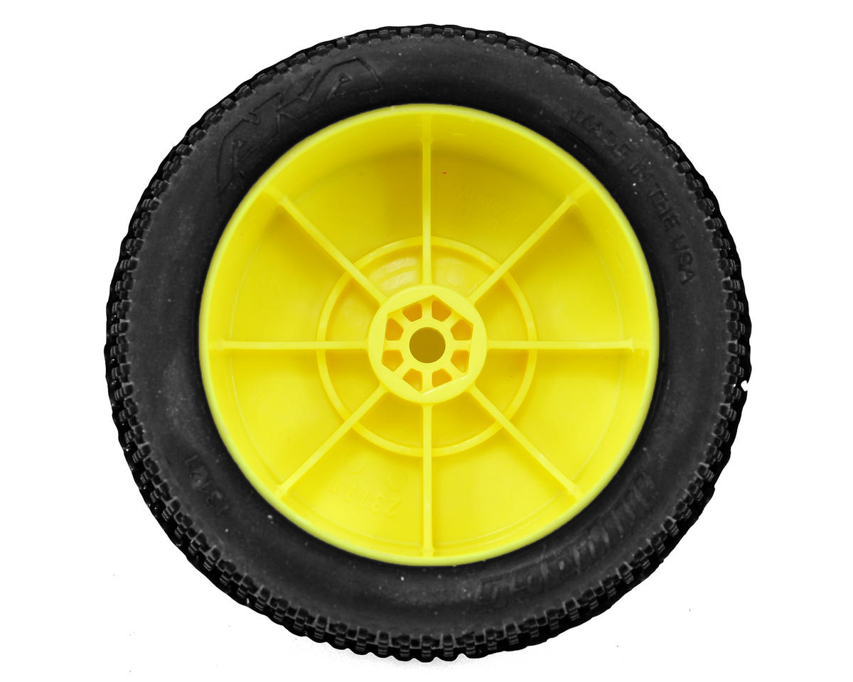 "AKA ""EVO"" Impact 2.4"" Rear Buggy Pre-Mounted Tires (2) (Yellow) (Super Soft)"