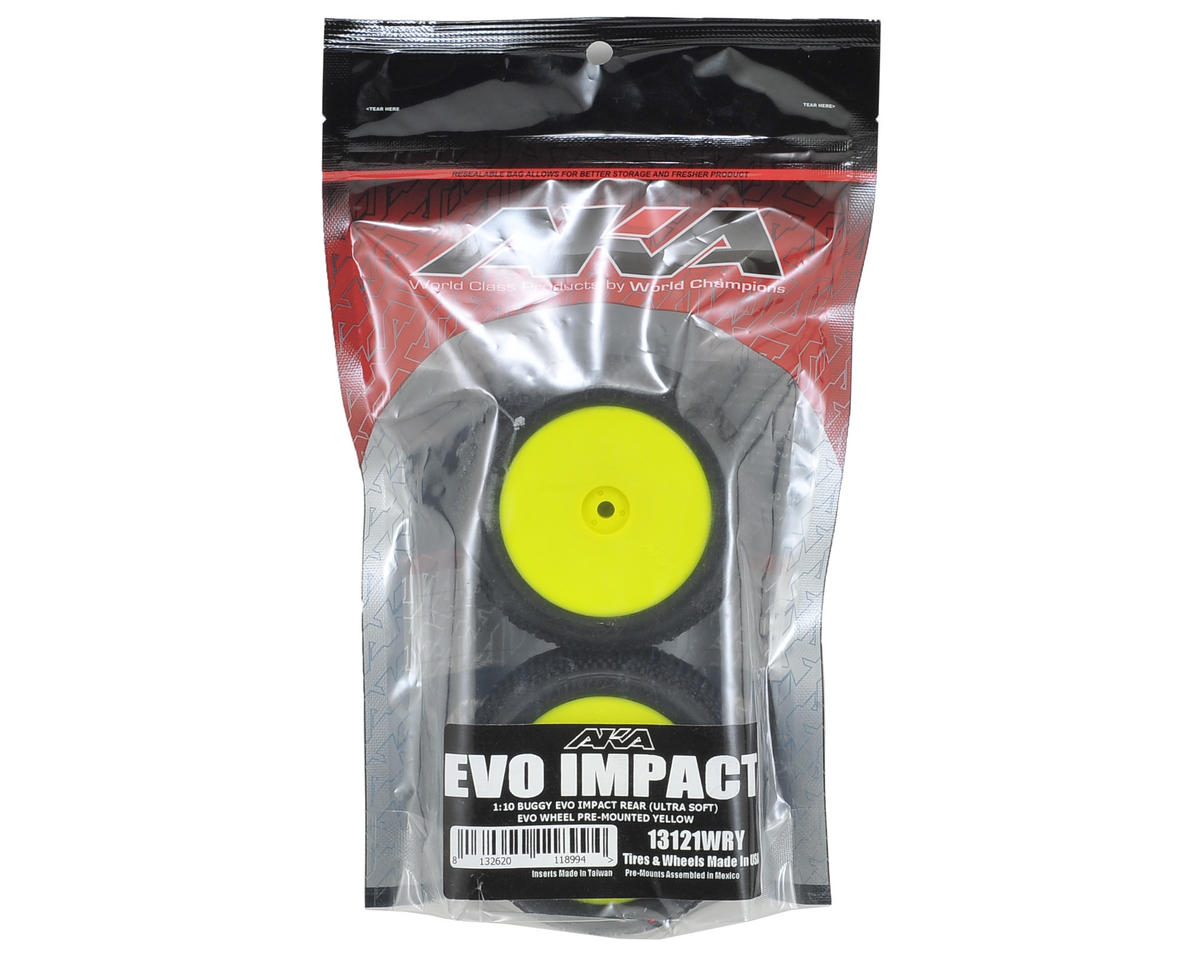 "AKA ""EVO"" Impact 2.4"" Rear Buggy Pre-Mounted Tires (2) (Yellow) (Ultra Soft)"