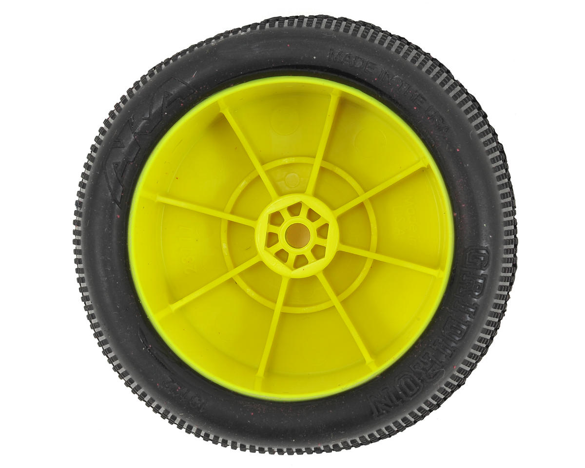"AKA ""EVO"" Gridiron 2.4"" Rear Buggy Pre-Mounted Tires (2) (Yellow) (Ultra Soft)"