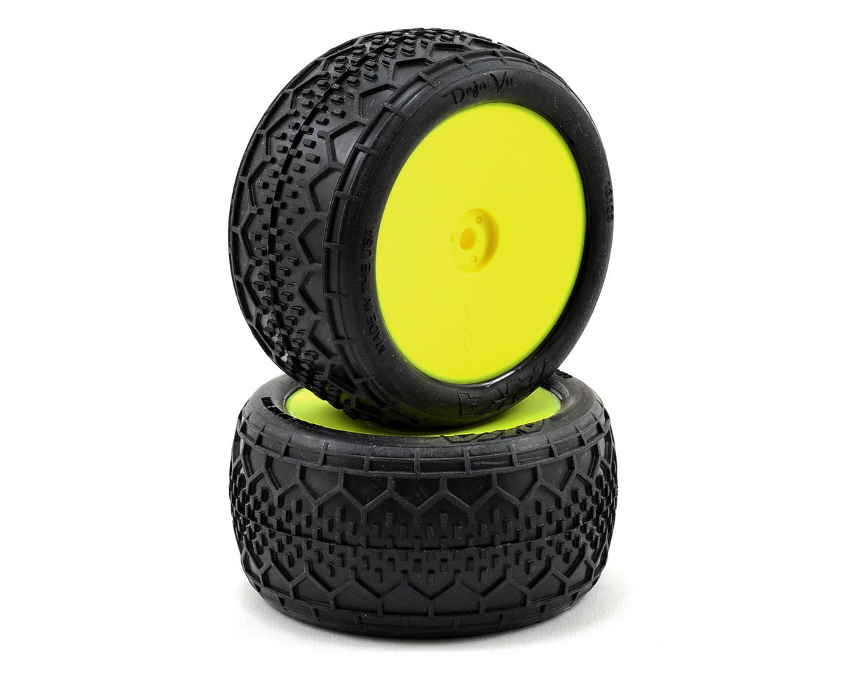 """EVO"" Deja Vu 2.4"" Rear Buggy Pre-Mounted Tires (2) (Yellow) by AKA"