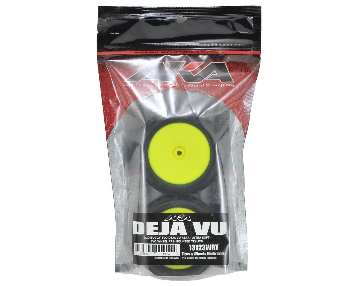"AKA ""EVO"" Deja Vu 2.4"" Rear Buggy Pre-Mounted Tires (2) (Yellow) (Ultra Soft)"