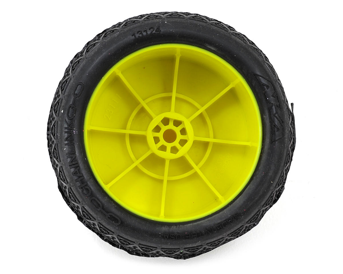 "AKA ""EVO"" Chain Link 2.4"" Rear Pre-Mounted Tires (2) (Yellow) (Clay)"