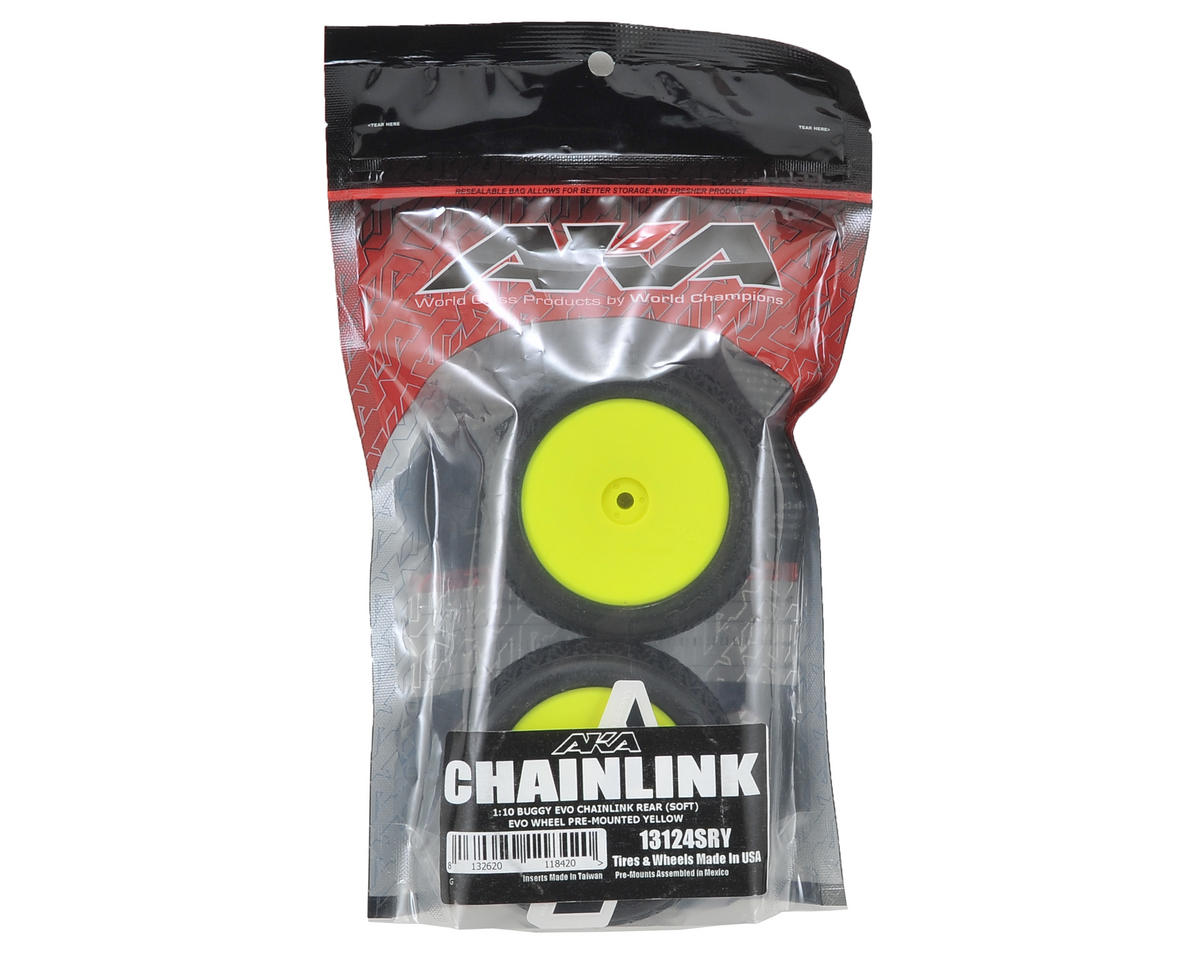 "AKA ""EVO"" Chain Link 2.4"" Rear Pre-Mounted Tires (2) (Yellow) (Soft)"