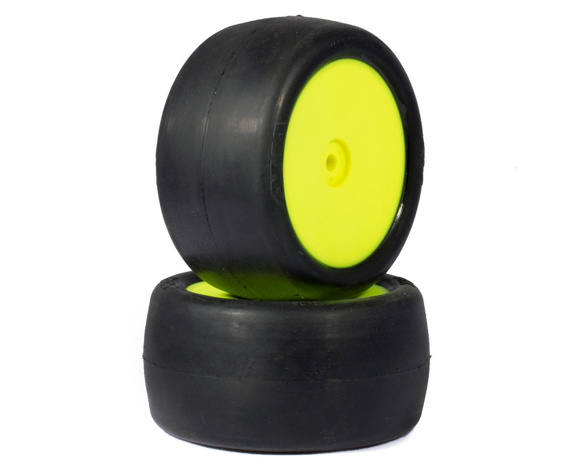 "AKA ""EVO"" Slicks 2.4"" Rear Buggy Pre-Mounted Tires (2) (Yellow) (Team Associated RC10 B44.2)"