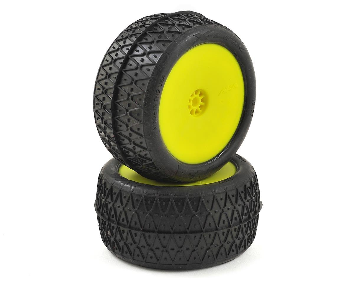 "AKA Crosslink 2.2"" Pre-Mounted Rear Buggy Tires (Yellow) (2) (Kyosho Ultima RB6)"