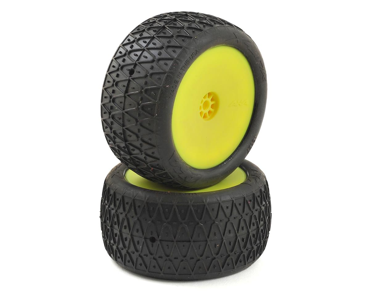 """AKA Crosslink 2.2"""" Pre-Mounted Rear Buggy Tires (Yellow) (2) (Super Soft)"""