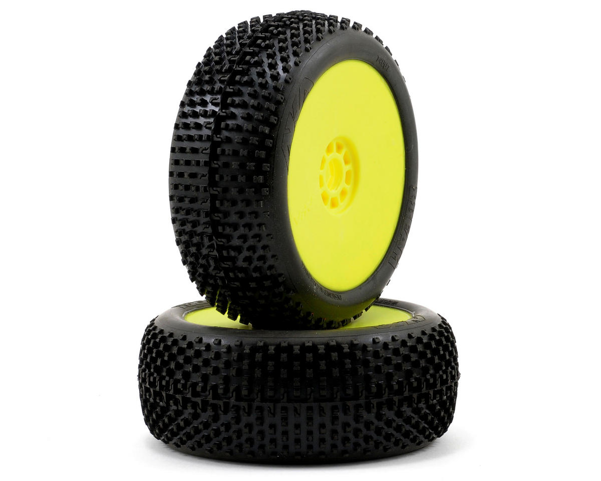 I-Beam 1/8 Buggy Pre-Mounted Tires (2) (Yellow) by AKA
