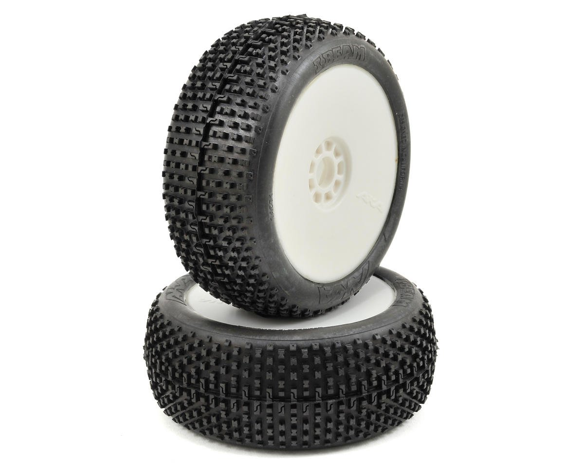 I-Beam 1/8 Buggy Pre-Mounted Tires (2) (White) (Medium - Long Wear) by AKA