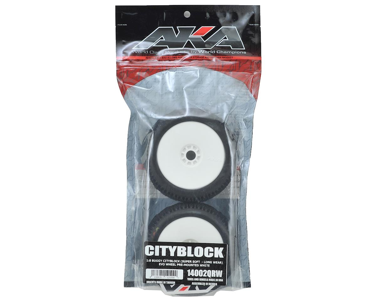 AKA Cityblock 1/8 Buggy Pre-Mounted Tires (2) (White) (Super Soft - Long Wear)